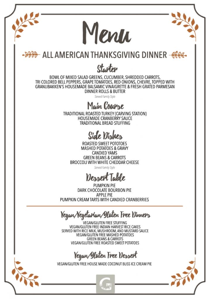 Thanksgiving Menu 2019