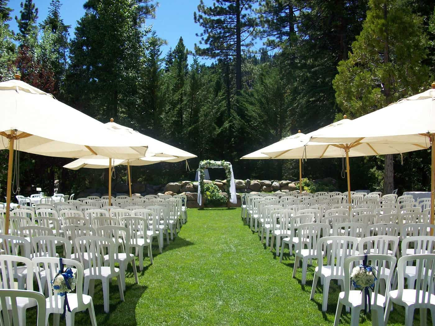 lawn set up for wedding