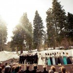 outdoor stage winter wedding
